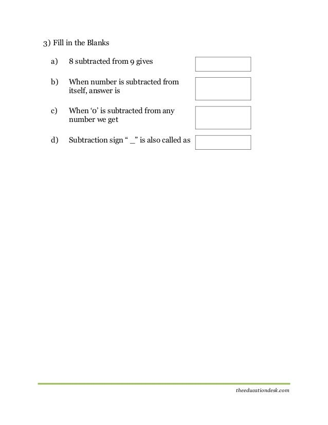 Subtraction Worksheets place value addition and subtraction worksheets : Maths: Subtraction Worksheet (CBSE Grade II )