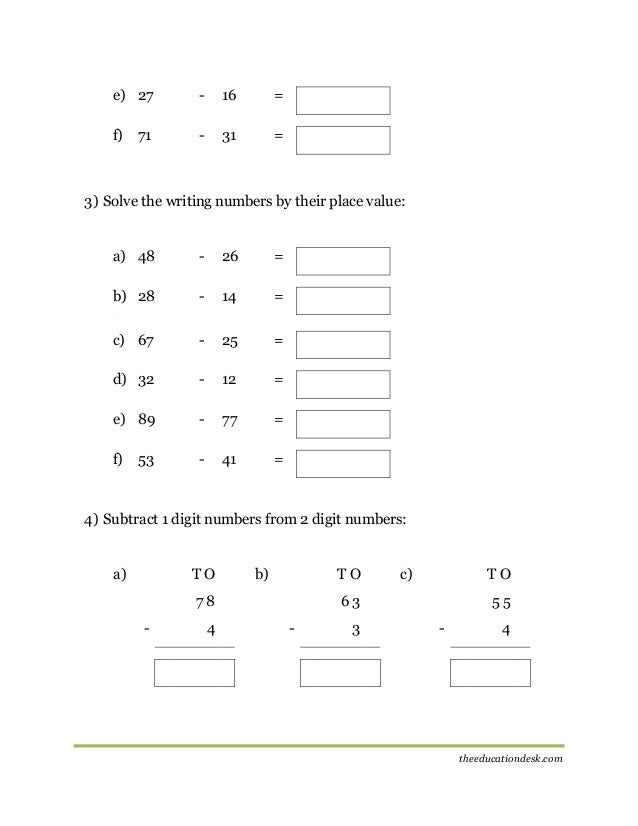 Maths: Subtraction Worksheet (CBSE Grade II )