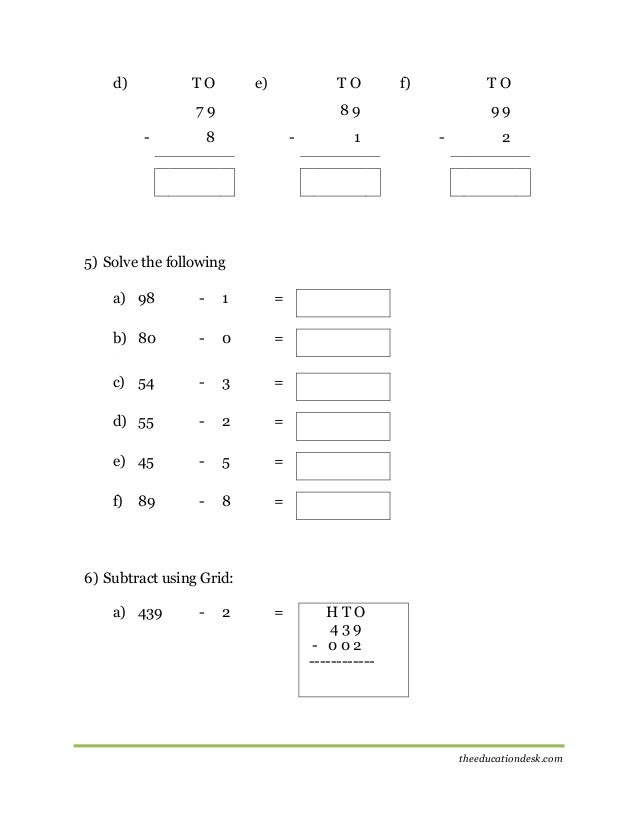 Maths Subtraction Worksheet CBSE Grade II – Worksheets of Maths for Class 1
