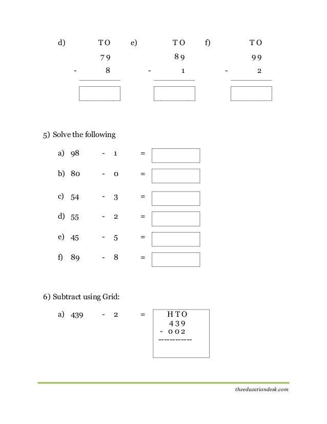 Maths Subtraction Worksheet Cbse Grade Ii