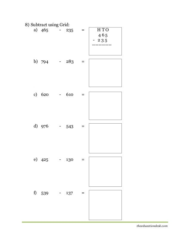 Maths Subtraction Worksheet CBSE Grade II – Subtracting 9 and 11 Worksheets