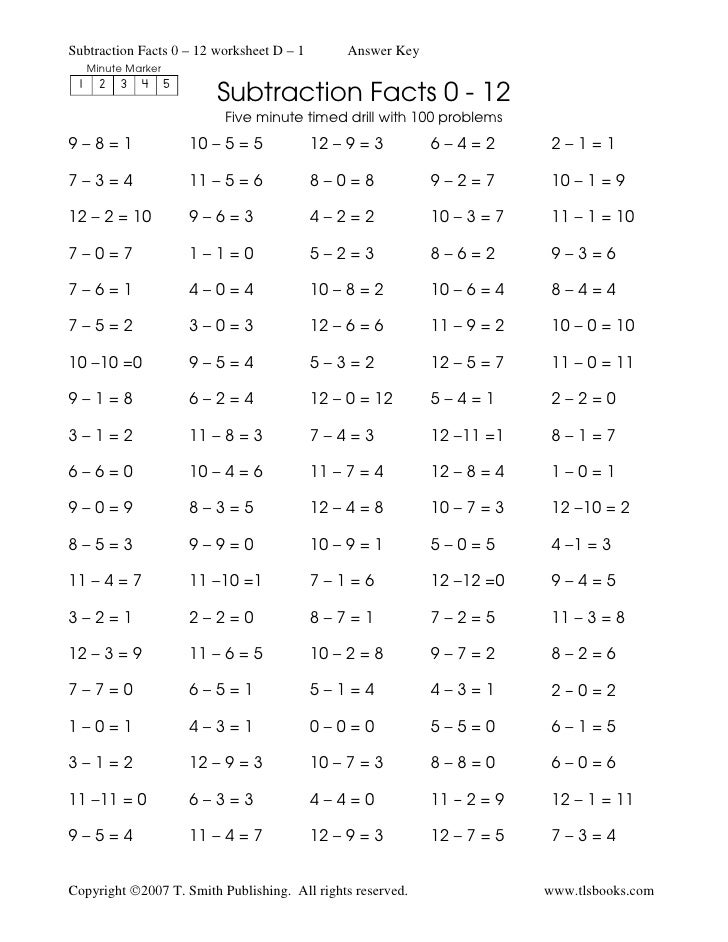 Subtracting 0 1 2 Worksheets & Two Digit Subtraction Worksheets