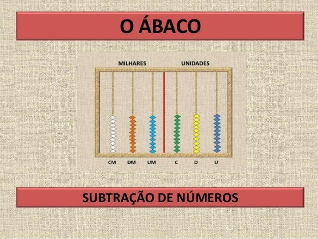 O ÁBACO SUBTRAÇÃO DE NÚMEROS