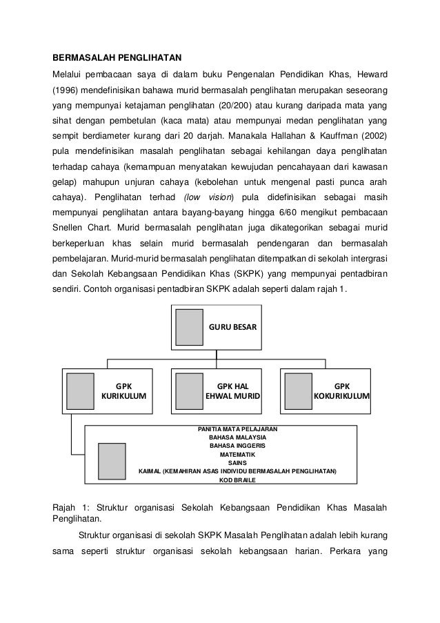 BERMASALAH PENGLIHATAN Melalui pembacaan saya di dalam buku Pengenalan Pendidikan Khas, Heward (1996) mendefinisikan bahaw...