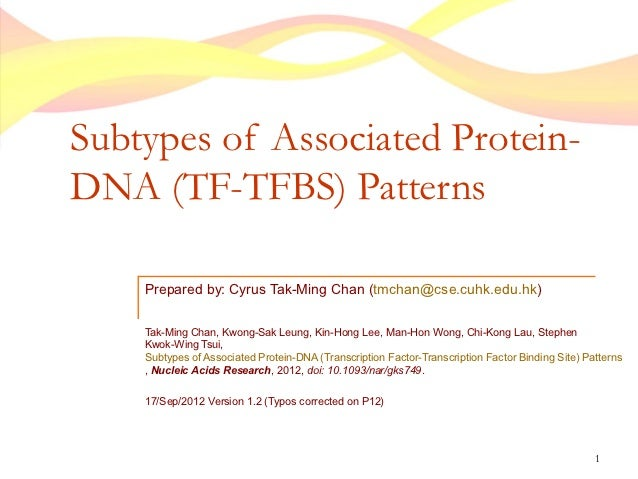 Subtypes of Associated Protein-DNA (TF-TFBS) Patterns    Prepared by: Cyrus Tak-Ming Chan (tmchan@cse.cuhk.edu.hk)    Tak-...