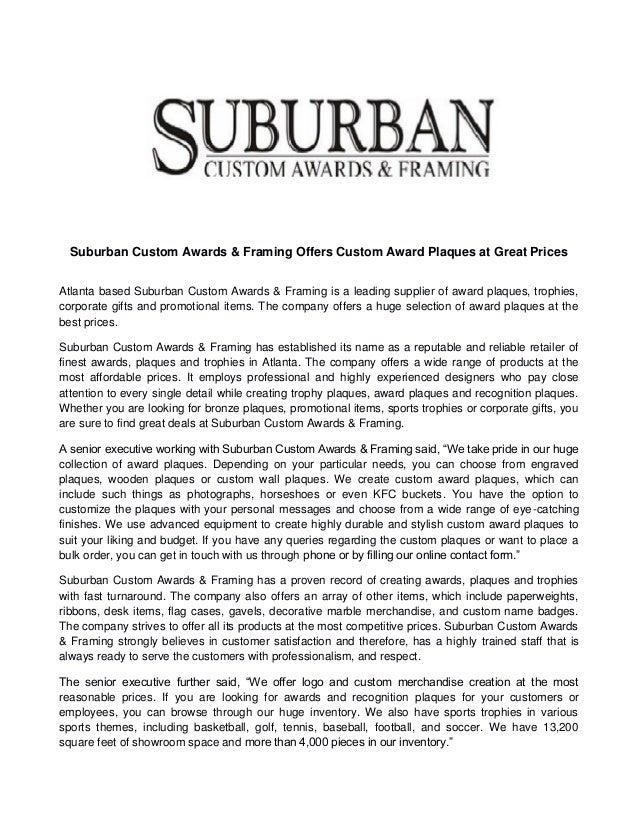 Suburban custom awards & framing offers custom award plaques at great…