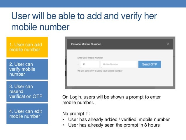 Mobile number verification for sub users