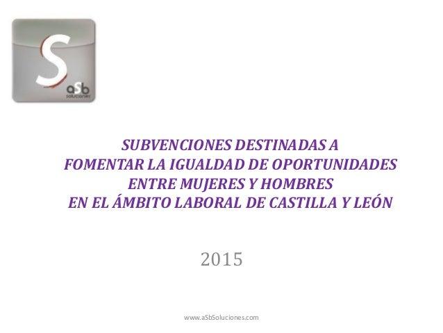 SUBVENCIONES DESTINADAS A FOMENTAR LA IGUALDAD DE OPORTUNIDADES ENTRE MUJERES Y HOMBRES EN EL ÁMBITO LABORAL DE CASTILLA Y...