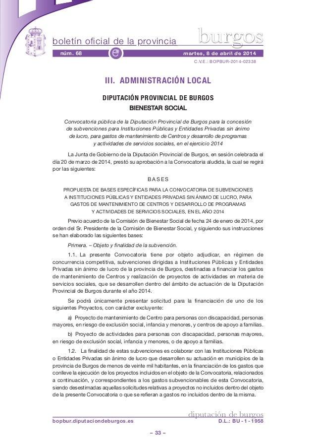 boletín oficial de la provincia – 33 – C.V.E.: BOPBUR-2014-02338 núm. 68 martes, 8 de abril de 2014e diputación de burgos ...