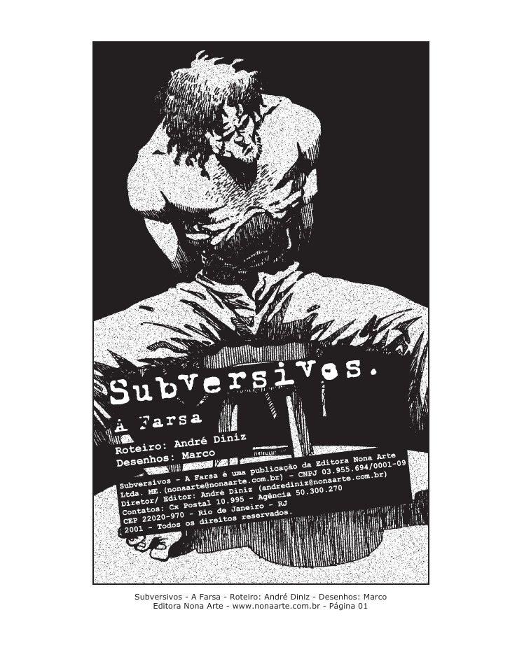 Subversivos - A Farsa - Roteiro: André Diniz - Desenhos: Marco    Editora Nona Arte - www.nonaarte.com.br - Página 01