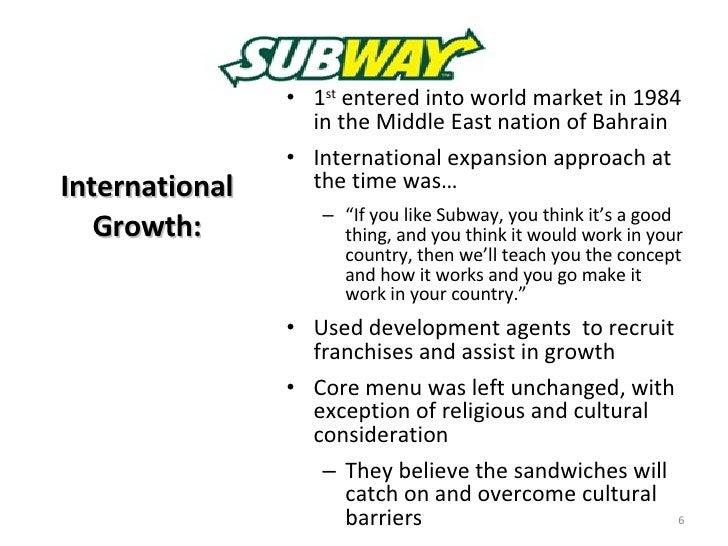 Market penetration explanation for subway restaurant