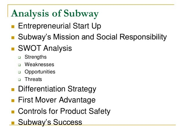 swot of subway sandwich essay example Subway restaurants swot this case study subway restaurants swot and other 64,000+ term papers, college essay examples and free  sandwich franchise based in the .