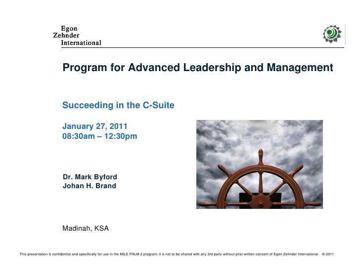 Egon                     Zehnder                       International                           Program for Advanced Leader...