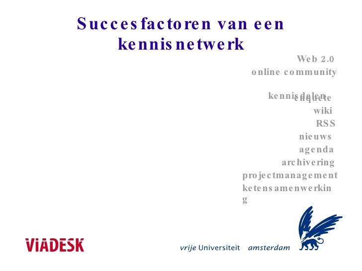 Succesfactoren van een kennisnetwerk Web 2.0 online community kennisdelen wiki agenda projectmanagement archivering RSS en...