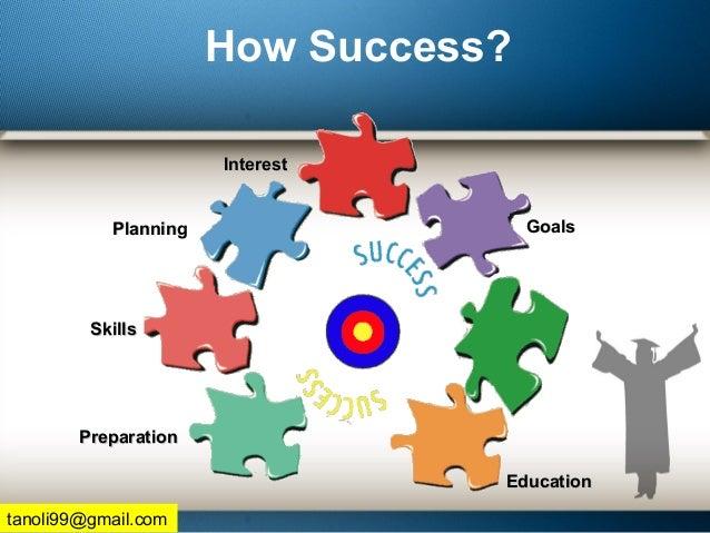 How Success? PlanningPlanning InterestInterest GoalsGoals SkillsSkills PreparationPreparation EducationEducation tanoli99@...