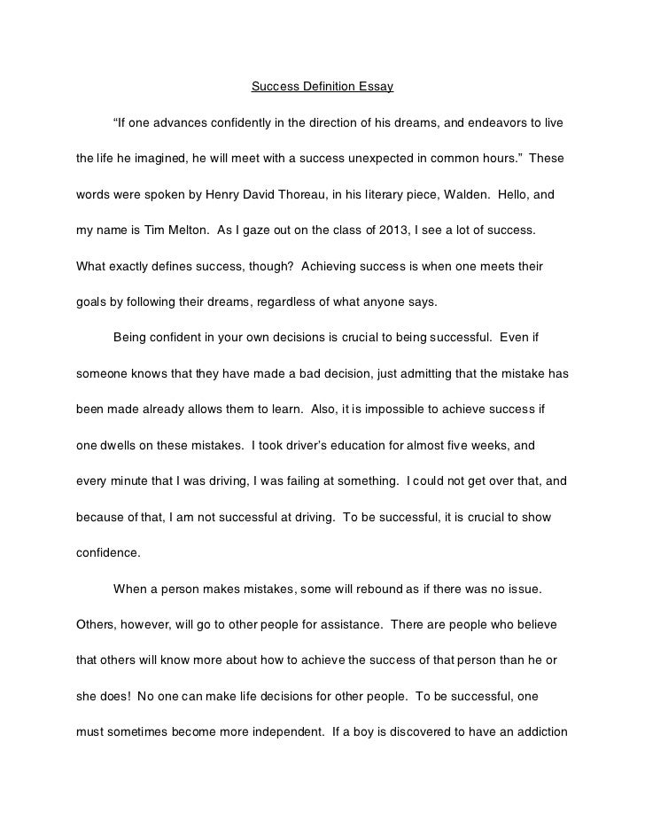"Success Definition Essay ""If one advances confidently in the ..."