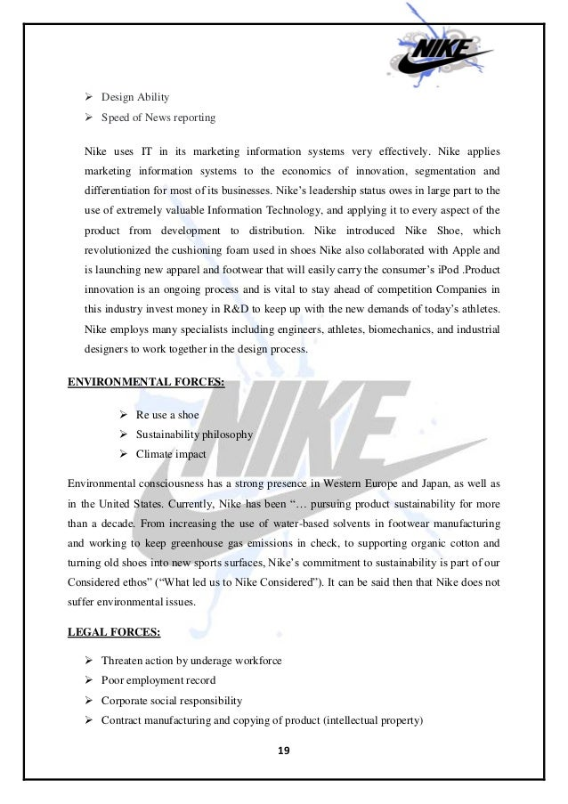 nike marketing information system Develop a marketing information system appropriate to existing trade networks and appropriate to market participants' skills.