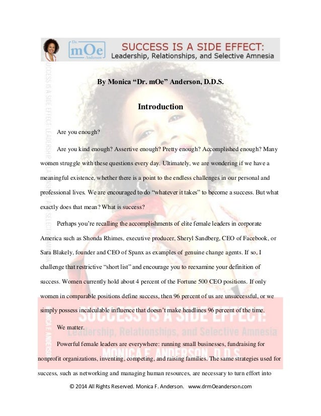 "© 2014 All Rights Reserved. Monica F. Anderson. www.drmOeanderson.com By Monica ""Dr. mOe"" Anderson, D.D.S. Introduction Ar..."
