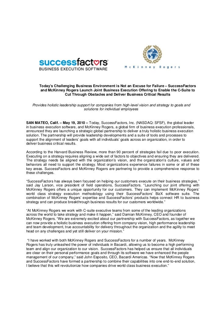 Today's Challenging Business Environment is Not an Excuse for Failure – SuccessFactors        and McKinney Rogers Launch J...