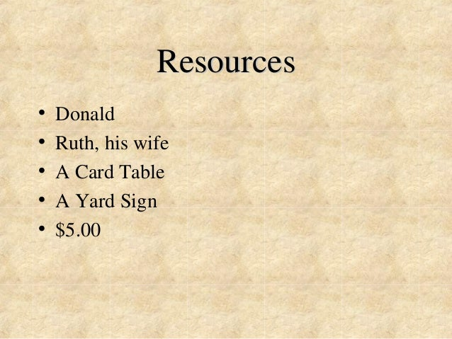 Resources  • Donald  • Ruth, his wife  • A Card Table  • A Yard Sign  • $5.00