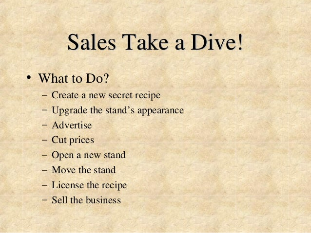 Sales Take a Dive!  • What to Do?  – Create a new secret recipe  – Upgrade the stand's appearance  – Advertise  – Cut pric...