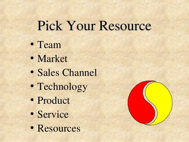 Pick Your Resource  • Team  • Market  • Sales Channel  • Technology  • Product  • Service  • Resources