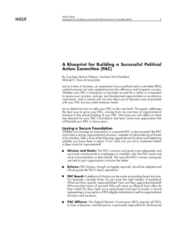 Blueprint for building a successful political action committee malvernweather