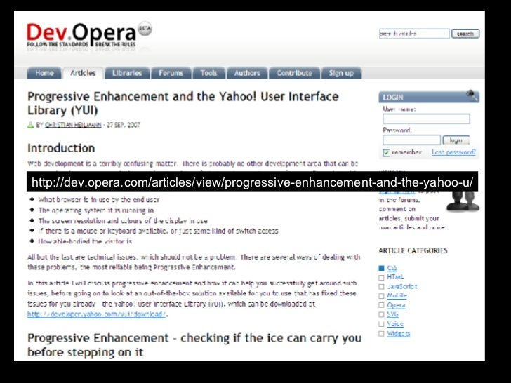 http://dev.opera.com/articles/view/progressive-enhancement-and-the-yahoo-u/