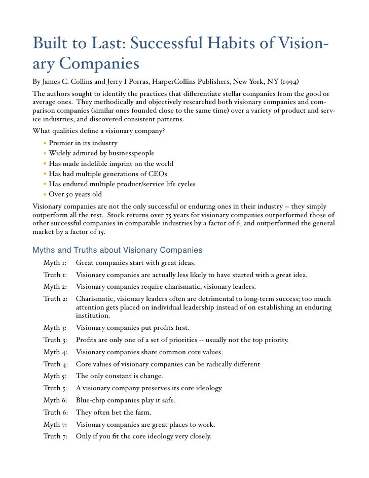 Myths and Truths about Visionary Companies
