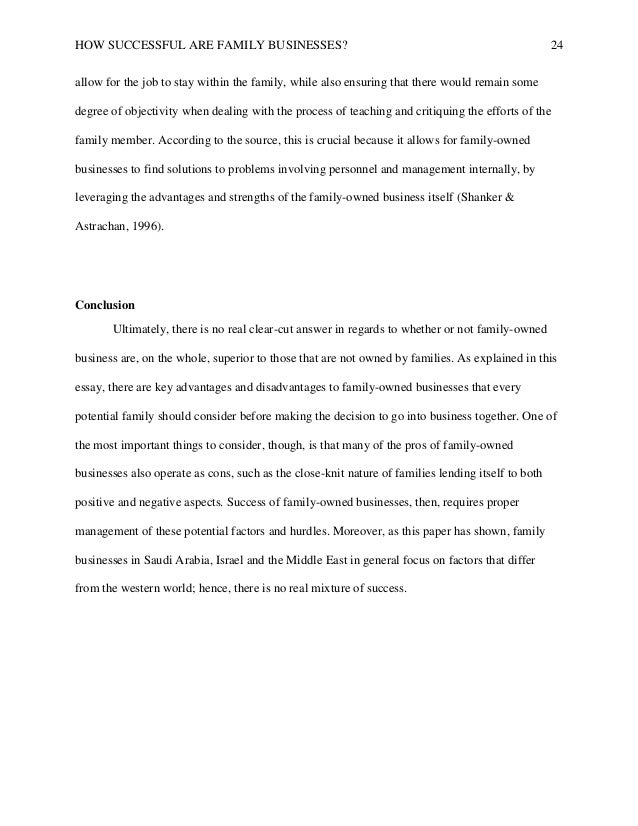 Successful Family Business Final Paper This Would  How Successful Are Family Businesses