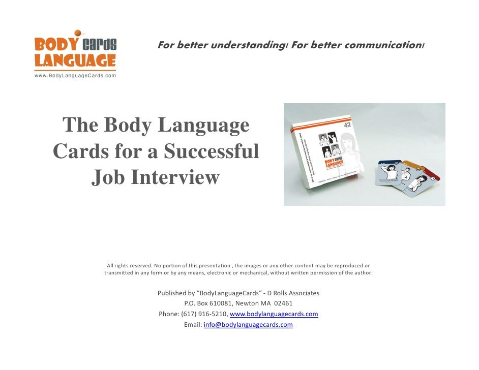 For better understanding! For better communication!      The Body Language Cards for a Successful    Job Interview        ...
