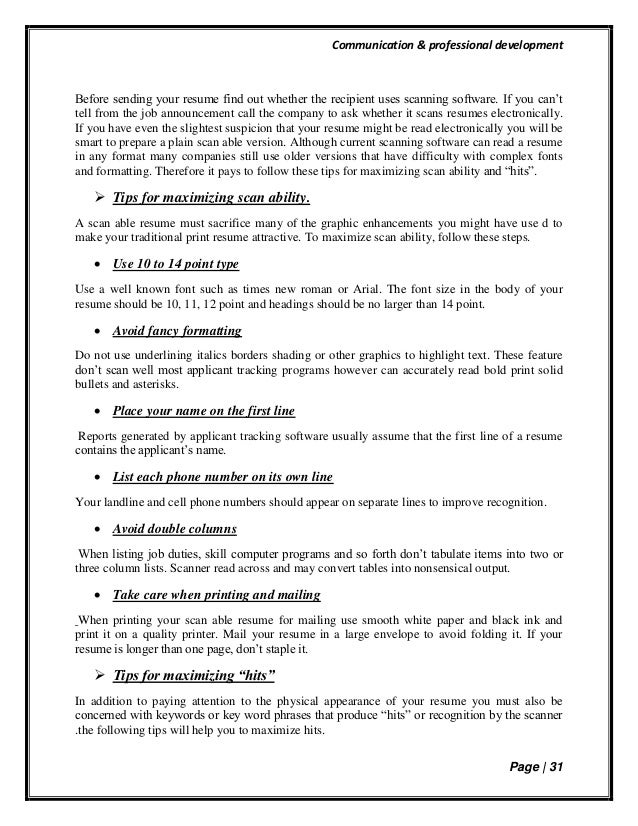 Communication U0026 Professional Development Page | 30 Format; 31.  What To Name Your Resume