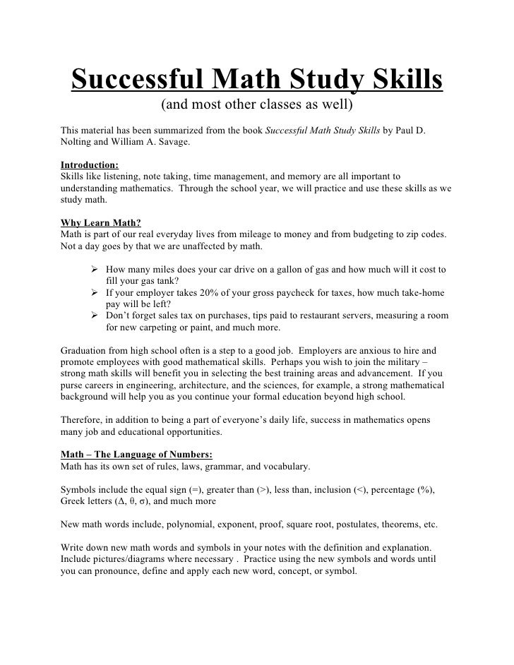 Successful Math Study Skills                         (and most other classes as well)This material has been summarized fro...