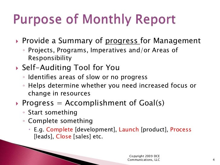 SlideShare  Monthly Report Format
