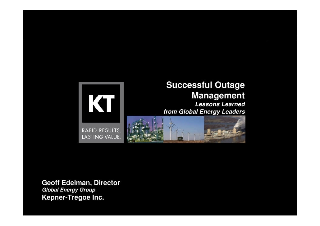 Successful Outage                                                          Management                                     ...