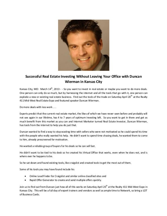 Successful Real Estate Investing Without Leaving Your Office with Duncan                               Wierman in Kansas C...