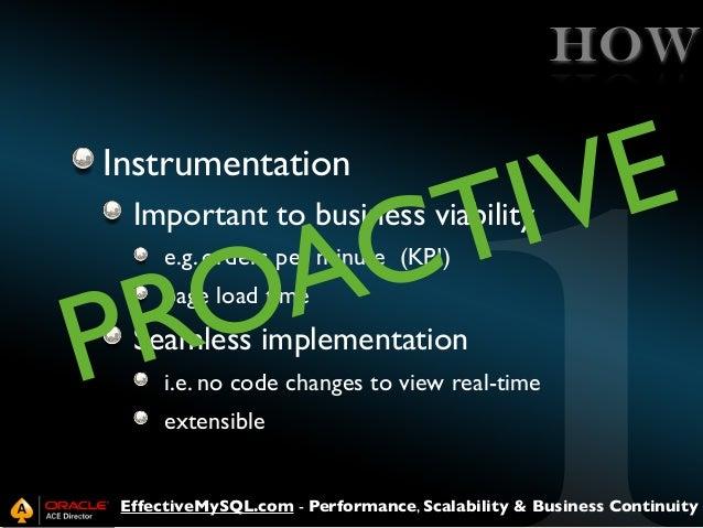 HOW Instrumentation  E V I T  C A O R P  Important to business viability e.g. orders per minute (KPI) page load time  Seam...