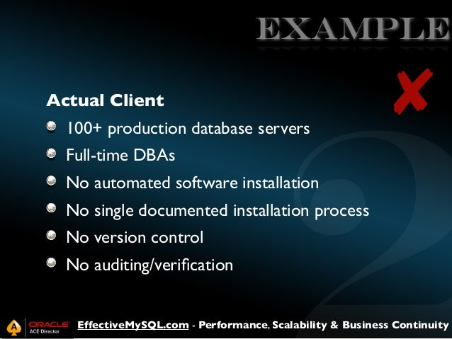 EXAMPLE Actual Client 100+ production database servers  ✘  Full-time DBAs No automated software installation No single doc...