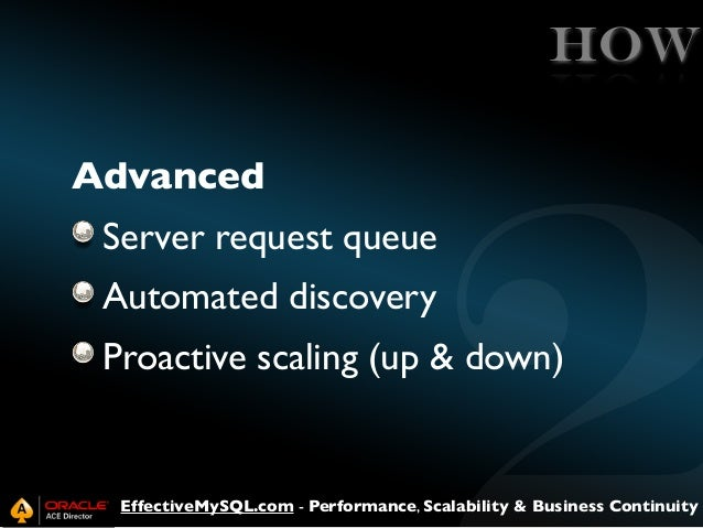 HOW Advanced Server request queue Automated discovery Proactive scaling (up & down)  EffectiveMySQL.com - Performance, Sca...