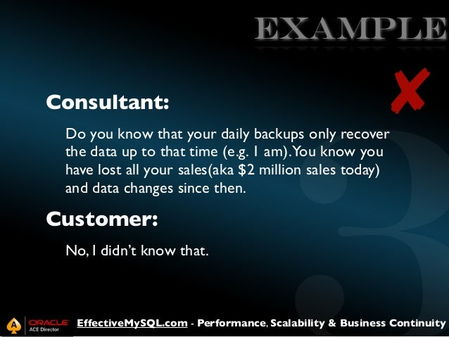 EXAMPLE Consultant:  ✘  Do you know that your daily backups only recover the data up to that time (e.g. 1 am).You know you...