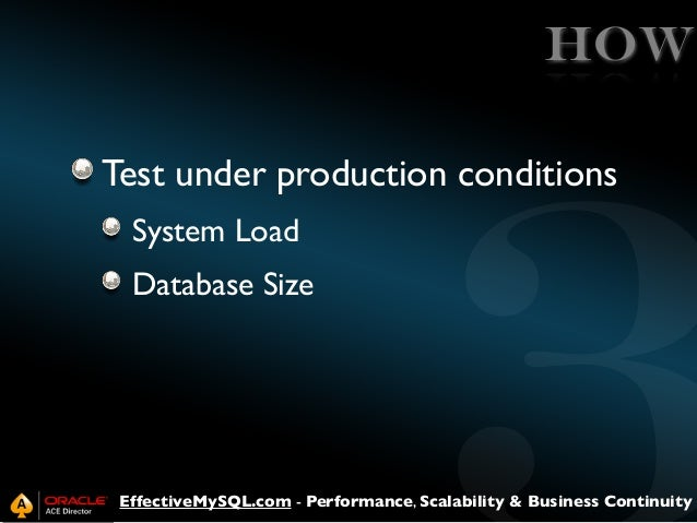 HOW Test under production conditions System Load Database Size  EffectiveMySQL.com - Performance, Scalability & Business C...