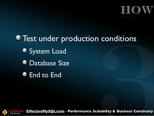 HOW Test under production conditions System Load Database Size End to End  EffectiveMySQL.com - Performance, Scalability &...