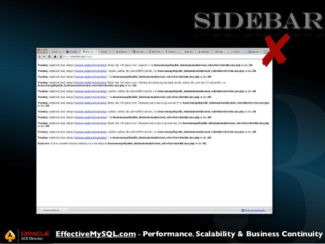 SIDEBAR  ✘  EffectiveMySQL.com - Performance, Scalability & Business Continuity