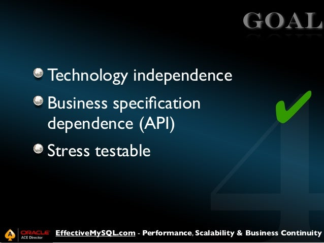 GOAL Technology independence Business specification dependence (API)  ✔  Stress testable  EffectiveMySQL.com - Performance,...