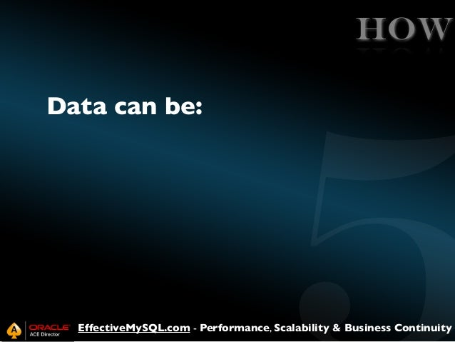 HOW Data can be:  EffectiveMySQL.com - Performance, Scalability & Business Continuity