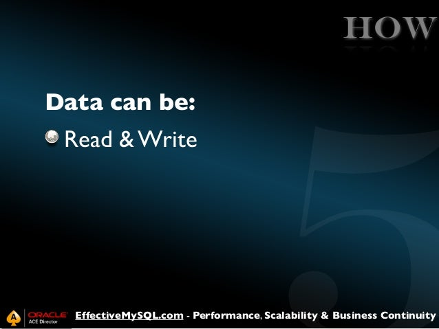 HOW Data can be: Read & Write  EffectiveMySQL.com - Performance, Scalability & Business Continuity