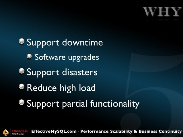 WHY Support downtime Software upgrades  Support disasters Reduce high load Support partial functionality EffectiveMySQL.co...