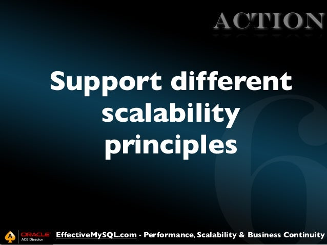 ACTION  Support different scalability principles  EffectiveMySQL.com - Performance, Scalability & Business Continuity