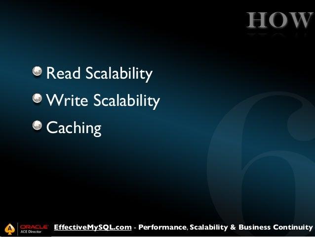 HOW Read Scalability Write Scalability Caching  EffectiveMySQL.com - Performance, Scalability & Business Continuity
