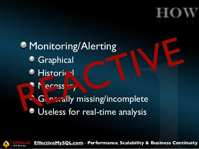 HOW  E V I T C A E R Monitoring/Alerting  Graphical Historical Necessary Generally missing/incomplete Useless for real-tim...